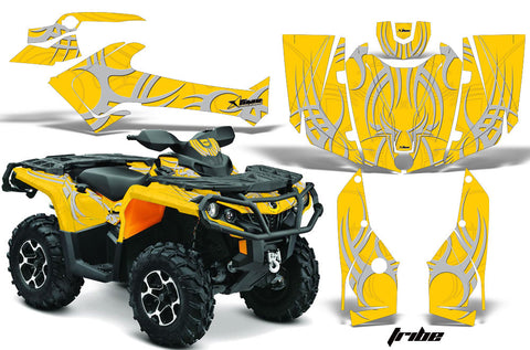 ATV Graphics Kit Decal Wrap For CanAm Outlander 800R/1000 XT-P DPS SST G2 TRIBE SILVER YELLOW