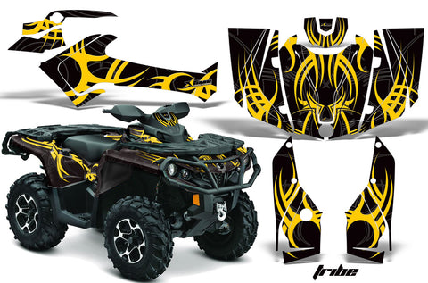 ATV Graphics Kit Decal Wrap For CanAm Outlander 800R/1000 XT-P DPS SST G2 TRIBE YELLOW BLACK