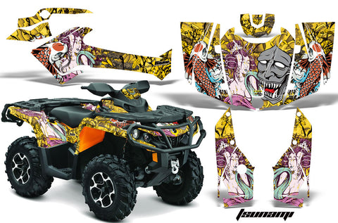 ATV Graphics Kit Decal Wrap For CanAm Outlander 800R/1000 XT-P DPS SST G2 TSUNAMI YELLOW