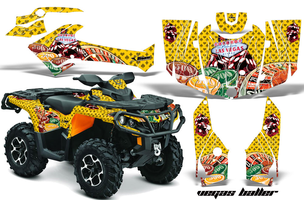 ATV Graphics Kit Decal Wrap For CanAm Outlander 800R/1000 XT-P DPS SST G2 VEGAS YELLOW-atv motorcycle utv parts accessories gear helmets jackets gloves pantsAll Terrain Depot