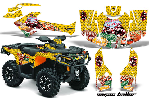 ATV Graphics Kit Decal Wrap For CanAm Outlander 800R/1000 XT-P DPS SST G2 VEGAS YELLOW