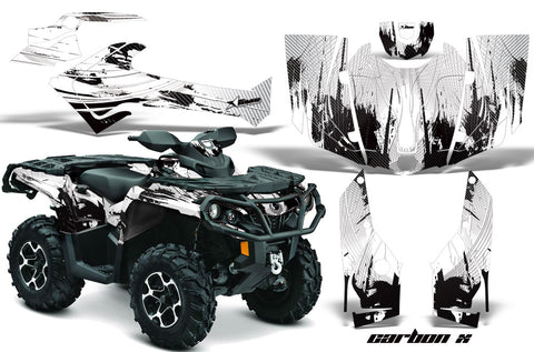 ATV Graphics Kit Decal Wrap For CanAm Outlander 800R/1000 XT-P DPS SST G2 CARBONX WHITE