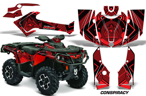 ATV Graphics Kit Decal Wrap For CanAm Outlander 800R/1000 XT-P DPS SST G2 CONSPIRACY RED