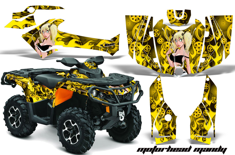 ATV Graphics Kit Decal Wrap For CanAm Outlander 800R/1000 XT-P DPS SST G2 MOTO MANDY YELLOW-atv motorcycle utv parts accessories gear helmets jackets gloves pantsAll Terrain Depot