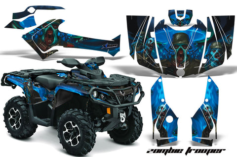 ATV Graphics Kit Decal Wrap For CanAm Outlander 800R/1000 XT-P DPS SST G2 ZOMBIE BLUE