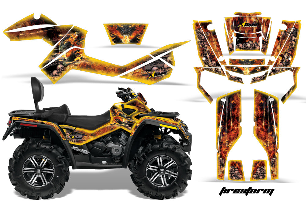 ATV Graphics Kit Decal Wrap For CanAm Outlander Max 500/800 2006-2012 FIRESTORM YELLOW-atv motorcycle utv parts accessories gear helmets jackets gloves pantsAll Terrain Depot