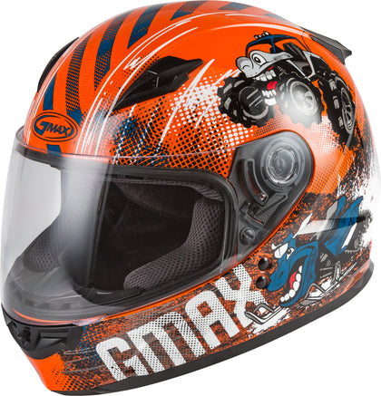 GMAX YOUTH GM-49Y BEASTS FULL-FACE HELMET ORANGE/BLUE/GREY YL G1498272