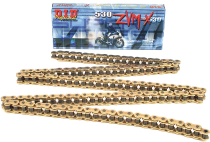 D.I.D SUPER STREET 530ZVMXG-25FT X-RING CHAIN GOLD 530ZVMXG-25FT