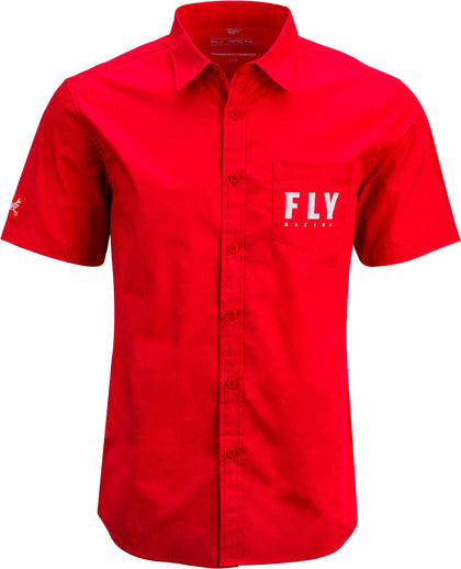 FLY RACING FLY PIT SHIRT RED 2X RED 2X 352-62152X