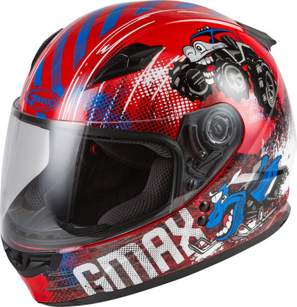 GMAX YOUTH GM-49Y BEASTS FULL-FACE HELMET RED/BLUE/GREY YM G1498371