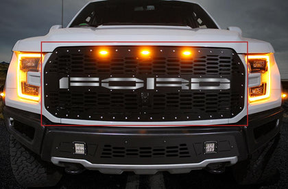 1 Piece Steel Grille for Ford Raptor SVT 2017-2018 - FORD w/ STAINLESS STEEL UNDERLAY