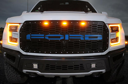 1 Piece Steel Grille for Ford Raptor SVT 2017-2018 - FORD w/ BLUE ACRYLIC UNDERLAY