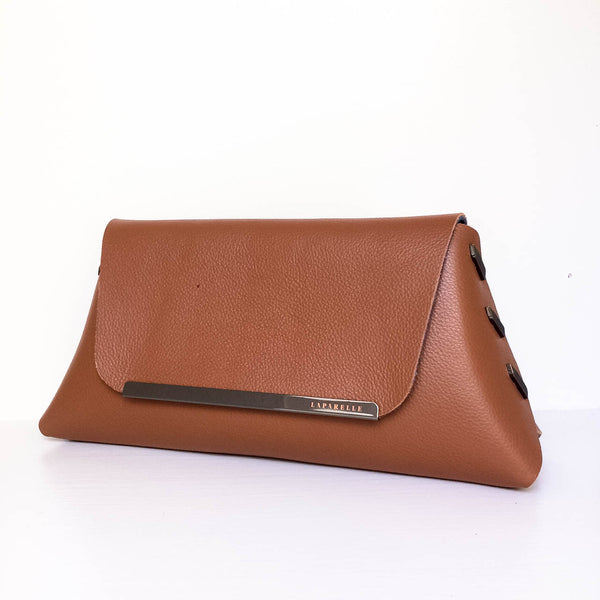 Reversible Clutch Bag - Small  - Navy / Cognac