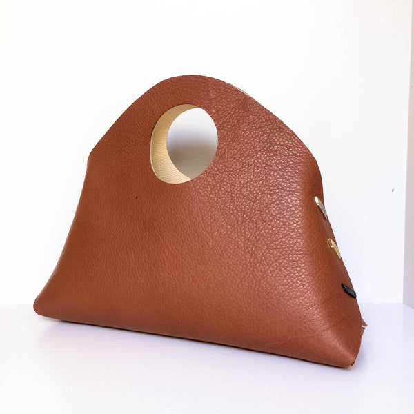Reversible MINI Shell Bag - Ivory/Cognac
