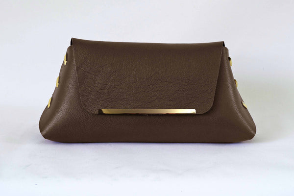 Reversible Clutch Bag - Large  - Ivory / Cognac