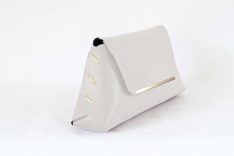 Reversible Clutch Bag - Medium  - Ivory / Cognac