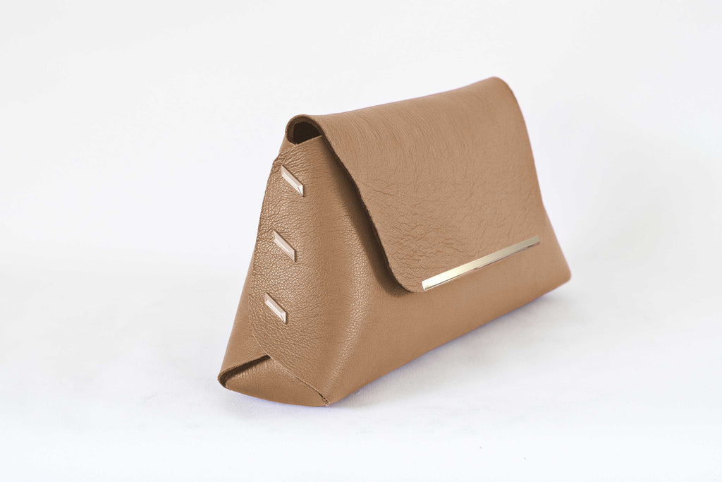 Reversible Clutch Bag - Large  - Camel / Black