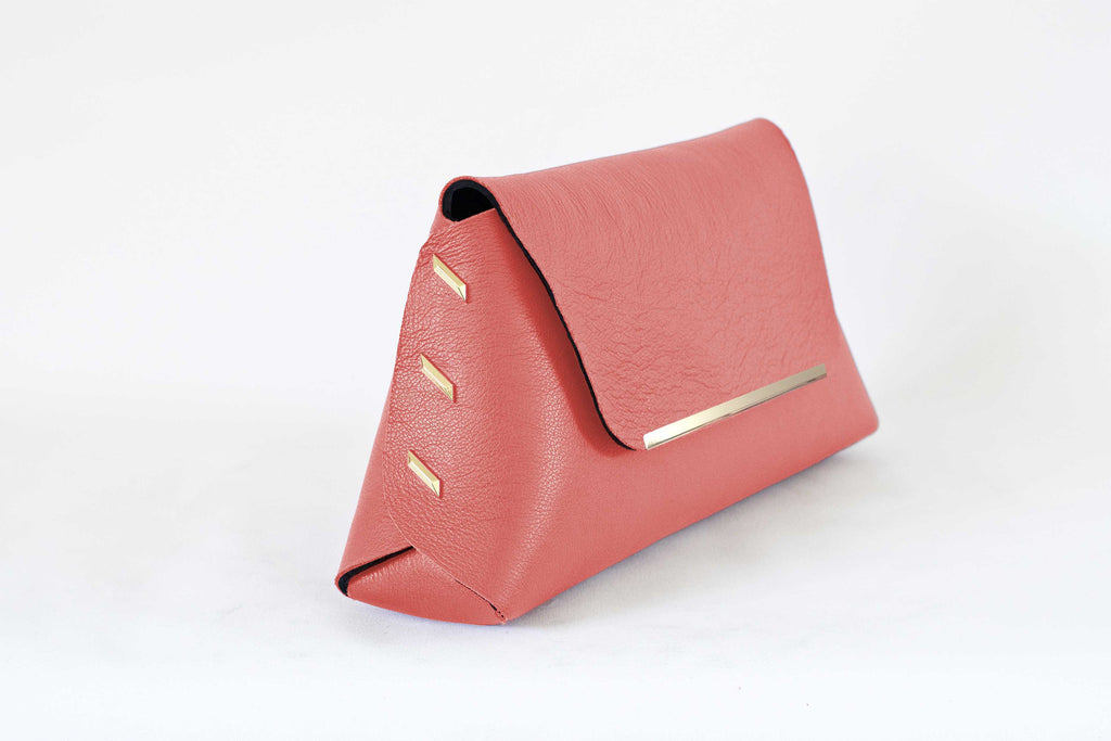 Reversible Clutch Bag - Small  - Coral /Black