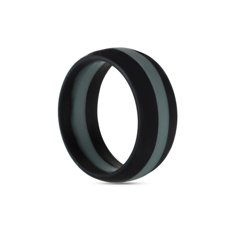 Men's Black with Gray Stripe Silicone Ring