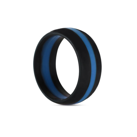 Men's Black with Blue Stripe Silicone Ring