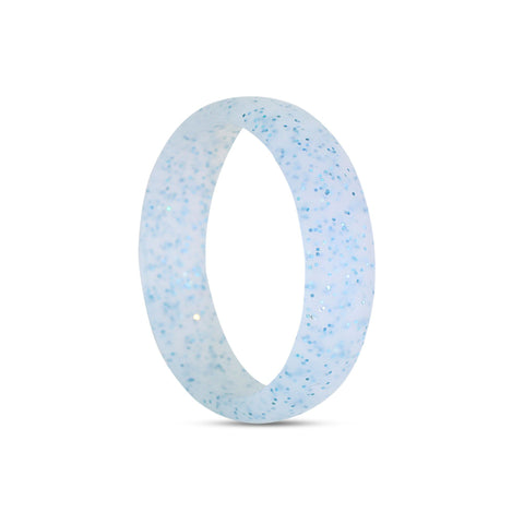 Women's Blue Glitter Silicone Ring