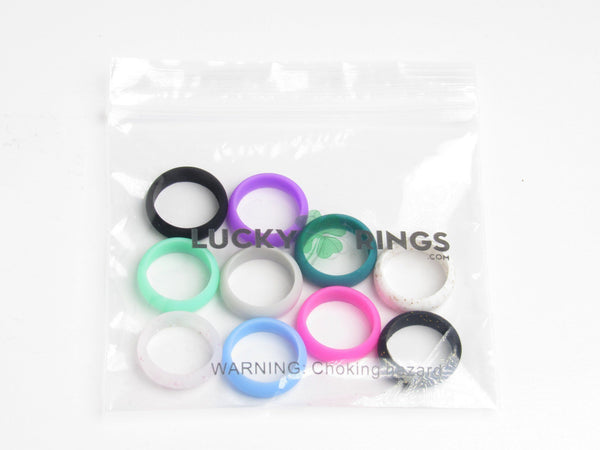 10 pack women's silicone wedding rings - pink, purple, teal, turquoise, black, grey, baby blue, white with gold glitter, black with gold glitter, clear with pink glitter