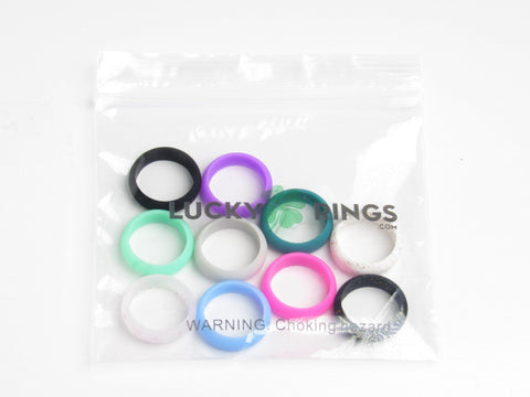 10 Pack Women's Silicone Wedding Rings - Workout and Gym Wedding Bands! Silicone Lucky Rings
