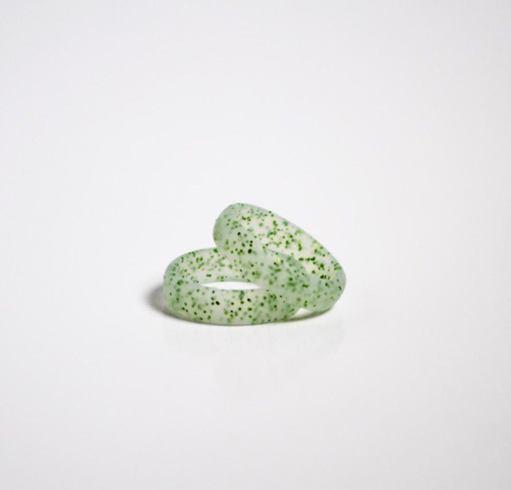 Women's Green With Green Glitter Silicone Wedding Ring!