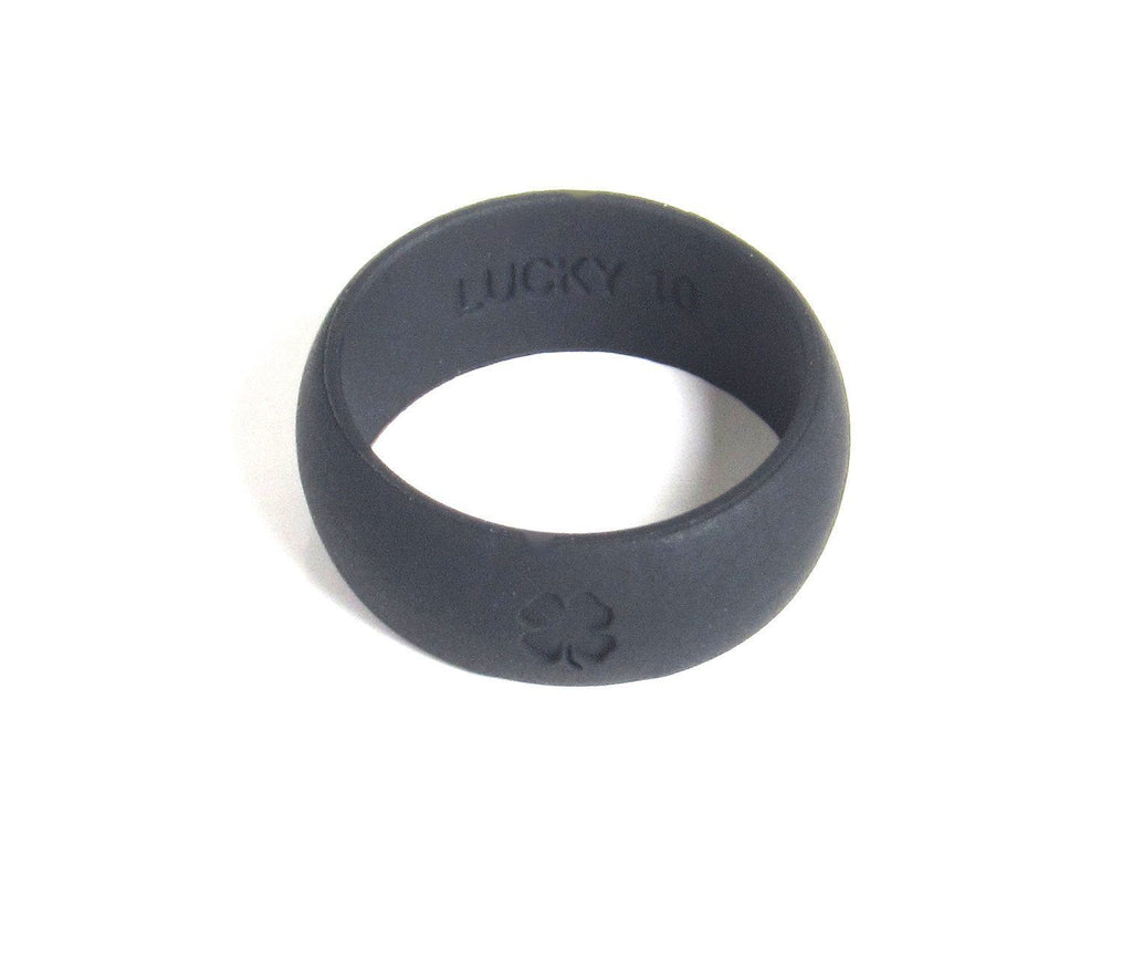 Signature Collection Ash Grey and Jet Black Silicone Wedding Bands - 2 Pack! Silicone Lucky Rings