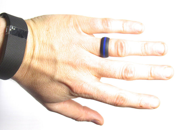 2 Pack - Men's Black and Grey Striped & Black with Blue Striped Silicone Wedding Bands - Middle Line Style - Luckyrings.com
