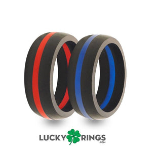 2 Pack - Men's Black with Red Line & Black with Blue Line Silicone Wedding Bands Silicone Lucky Rings