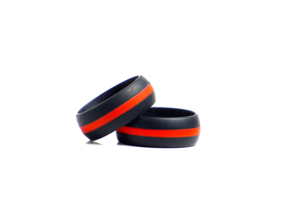 2 pack mens black with red line black with blue line silicone 2 pack mens black and red striped black with blue striped silicone wedding bands biocorpaavc Image collections