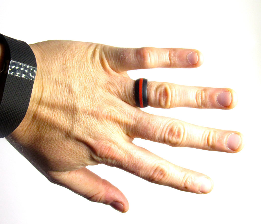 Black with Red Stripe Silicone Ring Silicone Lucky Rings