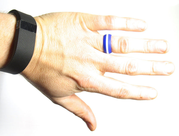 Men's Blue with White Striped Silicone Wedding Band - Middle Line Style - Luckyrings.com