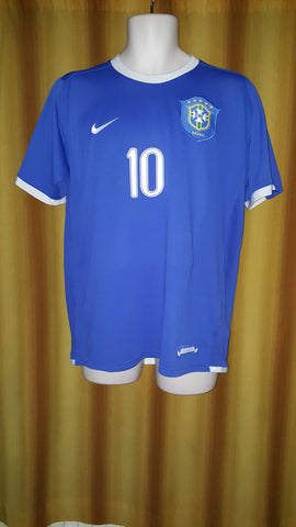 2006-07 Brazil Away Shirt Size Large - Ronaldinho #10 - Forever Football Shirts