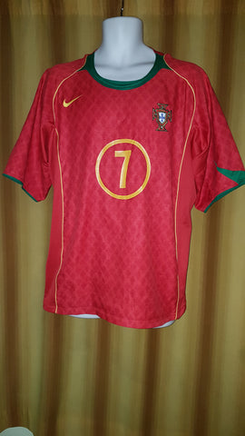 2004-05 Portugal Home Shirt Size XL – Figo #7 - Forever Football Shirts