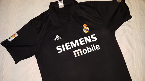 39efbf7cede 2002-03 Real Madrid Centenary Away Shirt Size Large – Figo  10 ...