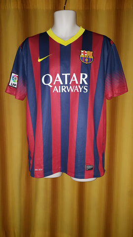 2013-14 Barcelona Home Shirt Size Large - Messi #10 - Forever Football Shirts
