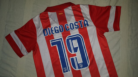 2013 14 Atletico Madrid Home Shirt Size Small Diego Costa 19 Forever Football Shirts