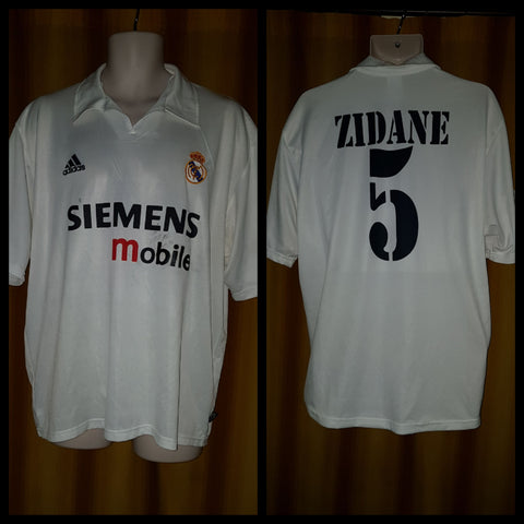 2002-03 Real Madrid Centenary Home Shirt Size XL - Zidane #5
