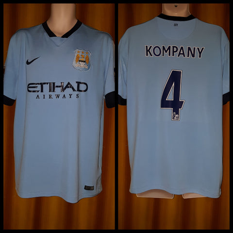 2014-15 Manchester City Home Shirt Size XL - Kompany #4 - Forever Football Shirts