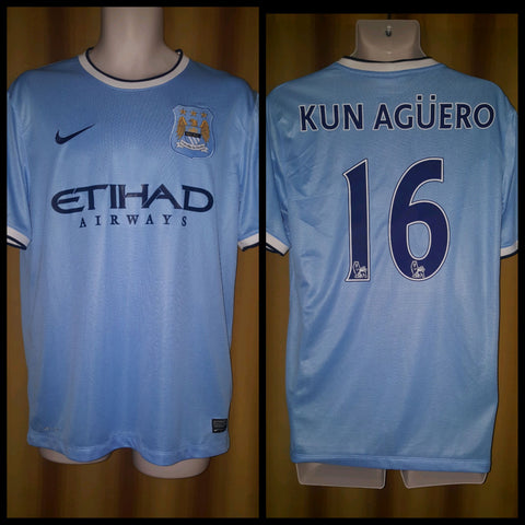 2013-14 Manchester City Home Shirt Size Medium - Kun Aguero #16