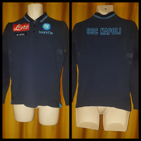 2013-14 Napoli Long Sleeve Polo Shirt Size Medium - Forever Football Shirts