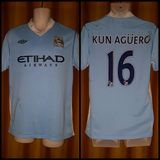 2011-12 Manchester City Home Shirt Size 40 - Kun Aguero #16