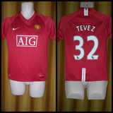 2007-09 Manchester United Home Shirt Size XL Boys - Tevez #32