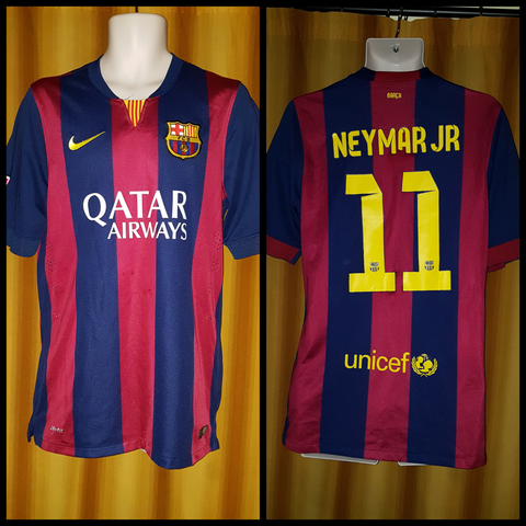 2014-15 Barcelona Home Shirt Size Medium - Neymar Jr #11
