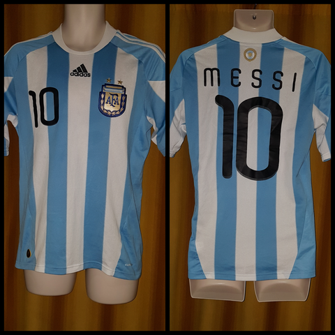 2009-11 Argentina Home Shirt Size Small - Messi #10