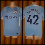 2017-18 Manchester City Home Shirt Size Medium - Toure Yaya #42 - Forever Football Shirts