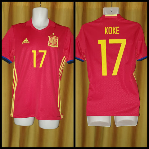2015-17 Spain Home Shirt Size Small - Koke #16