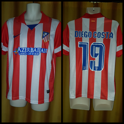 2013-14 Atletico Madrid Home Shirt Size Small - Diego Costa #19